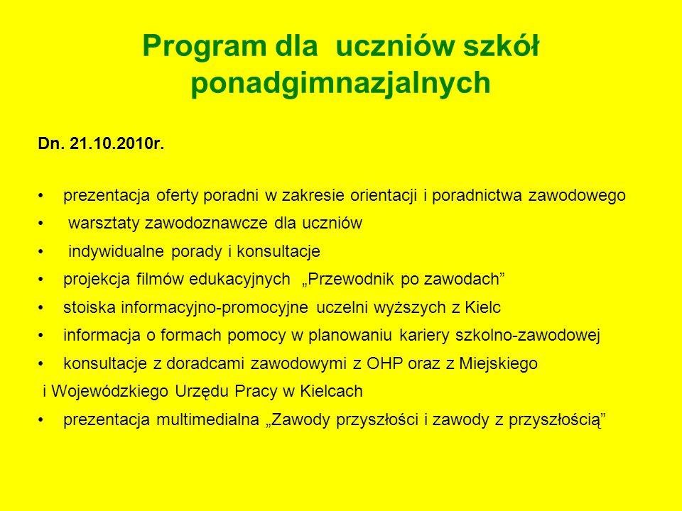 Program dla uczniów szkół ponadgimnazjalnych