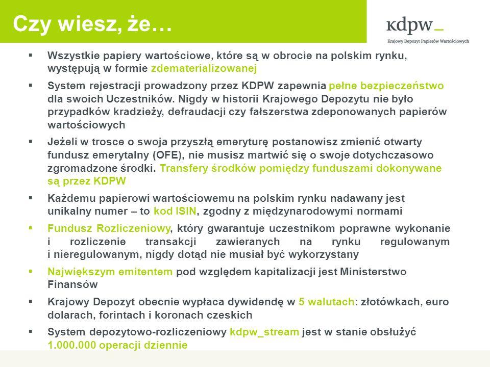 Czy wiesz, że… Wszystkie papiery wartościowe, które są w obrocie na polskim rynku, występują w formie zdematerializowanej.