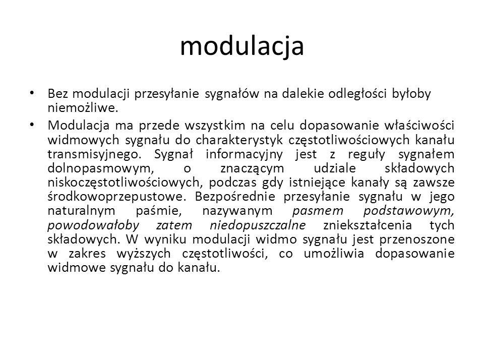 modulacja Bez modulacji przesyłanie sygnałów na dalekie odległości byłoby niemożliwe.