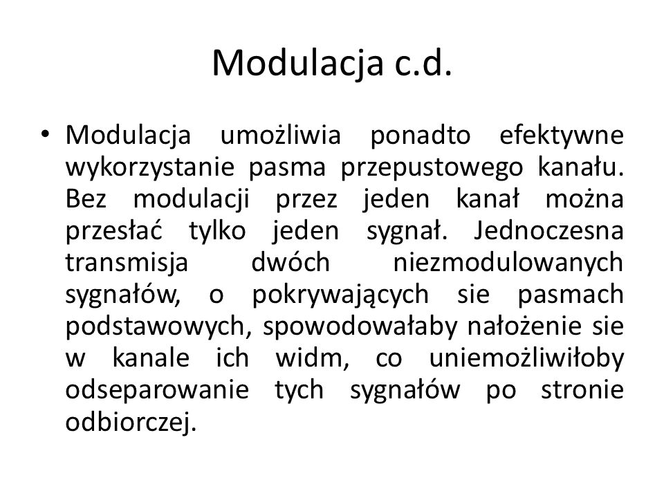Modulacja c.d.
