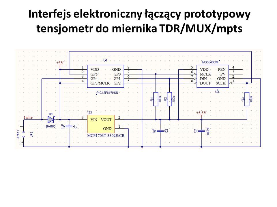 Interfejs elektroniczny łączący prototypowy tensjometr do miernika TDR/MUX/mpts