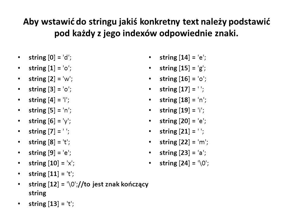 Aby wstawić do stringu jakiś konkretny text należy podstawić pod każdy z jego indexów odpowiednie znaki.