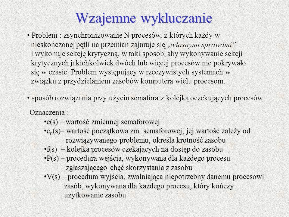 """Wzajemne wykluczanieProblem : zsynchronizowanie N procesów, z których każdy w. nieskończonej pętli na przemian zajmuje się """"własnymi sprawami"""