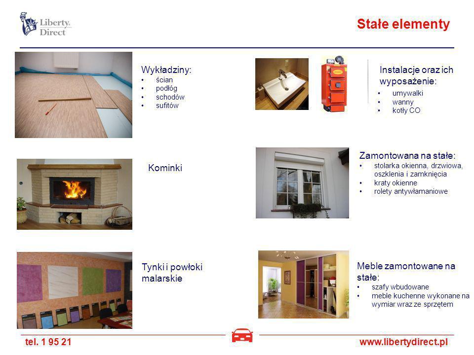Stałe elementy Wykładziny: Instalacje oraz ich wyposażenie: