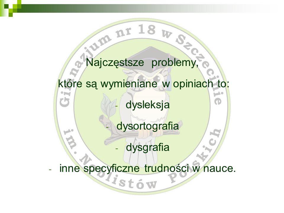 które są wymieniane w opiniach to: dysleksja dysortografia dysgrafia