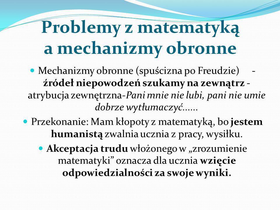 Problemy z matematyką a mechanizmy obronne