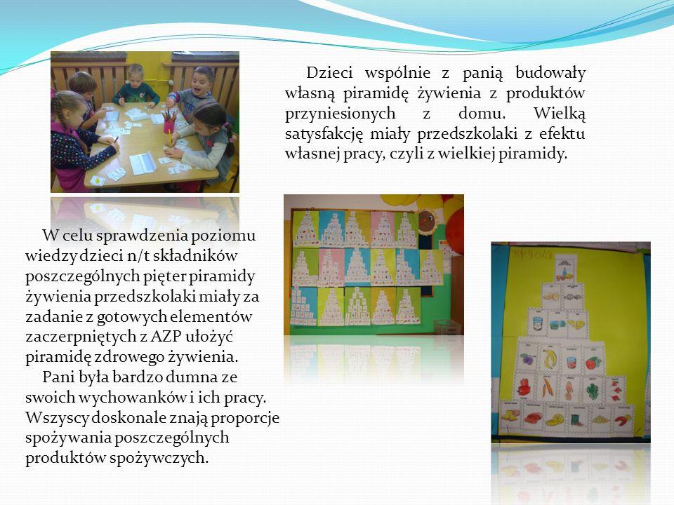 Dzieci wspólnie z panią budowały własną piramidę żywienia z produktów przyniesionych z domu. Wielką satysfakcję miały przedszkolaki z efektu własnej pracy, czyli z wielkiej piramidy.