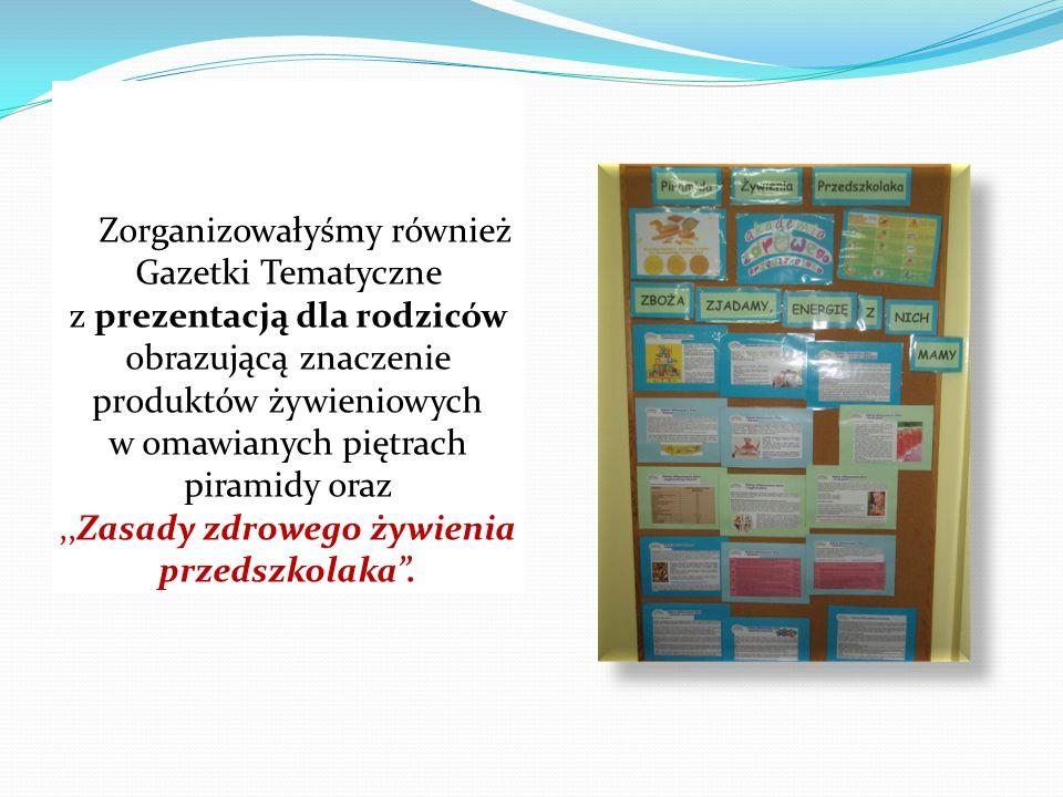Zorganizowałyśmy również Gazetki Tematyczne z prezentacją dla rodziców obrazującą znaczenie produktów żywieniowych w omawianych piętrach piramidy oraz ,,Zasady zdrowego żywienia przedszkolaka .
