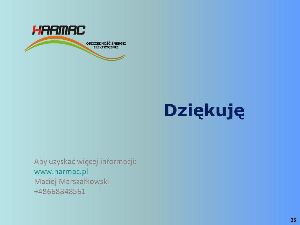 Dziękuję Aby uzyskać więcej informacji: www.harmac.pl Maciej Marszałkowski +48668848561