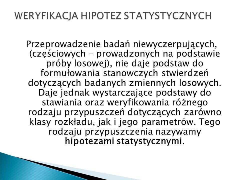 WERYFIKACJA HIPOTEZ STATYSTYCZNYCH