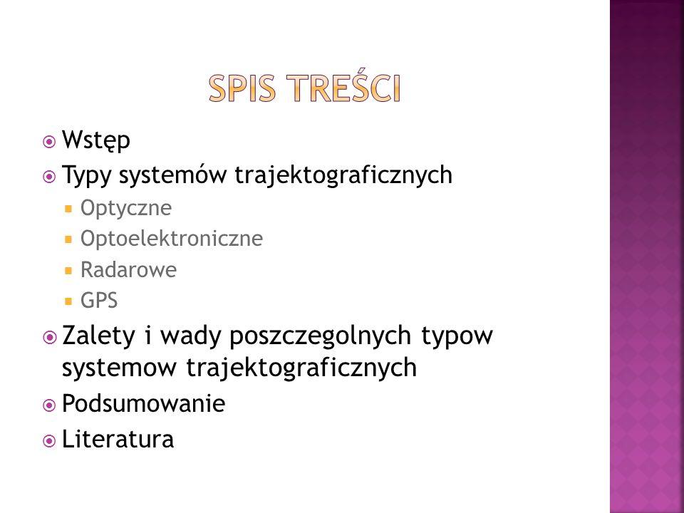 SPIS TrEŚCi Wstęp. Typy systemów trajektograficznych. Optyczne. Optoelektroniczne. Radarowe. GPS.