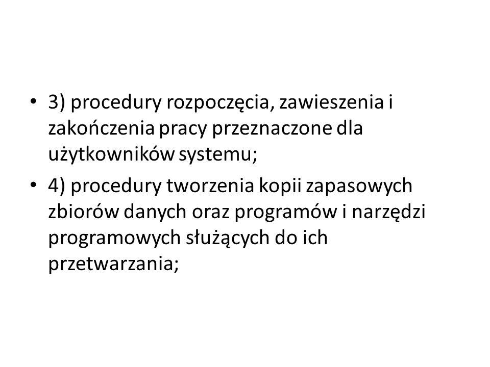 3) procedury rozpoczęcia, zawieszenia i zakończenia pracy przeznaczone dla użytkowników systemu;
