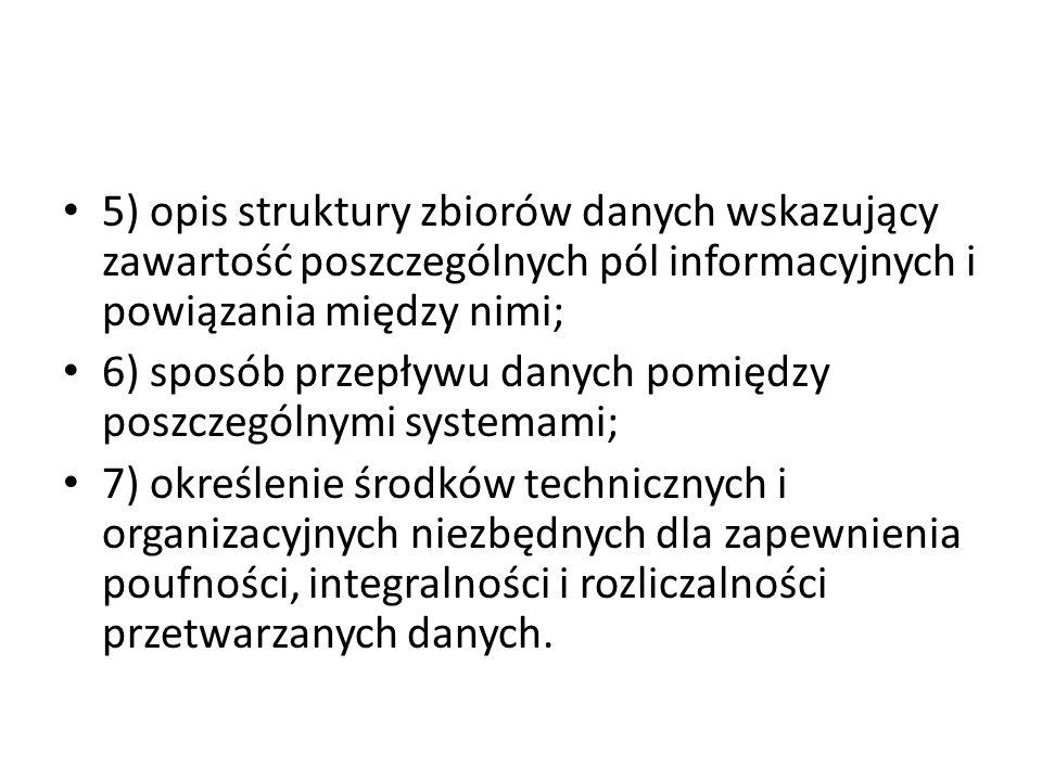 5) opis struktury zbiorów danych wskazujący zawartość poszczególnych pól informacyjnych i powiązania między nimi;