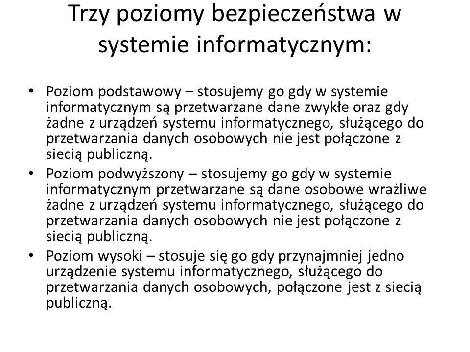 Trzy poziomy bezpieczeństwa w systemie informatycznym: