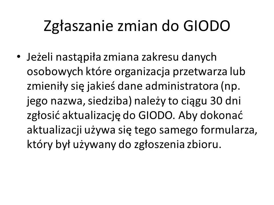 Zgłaszanie zmian do GIODO