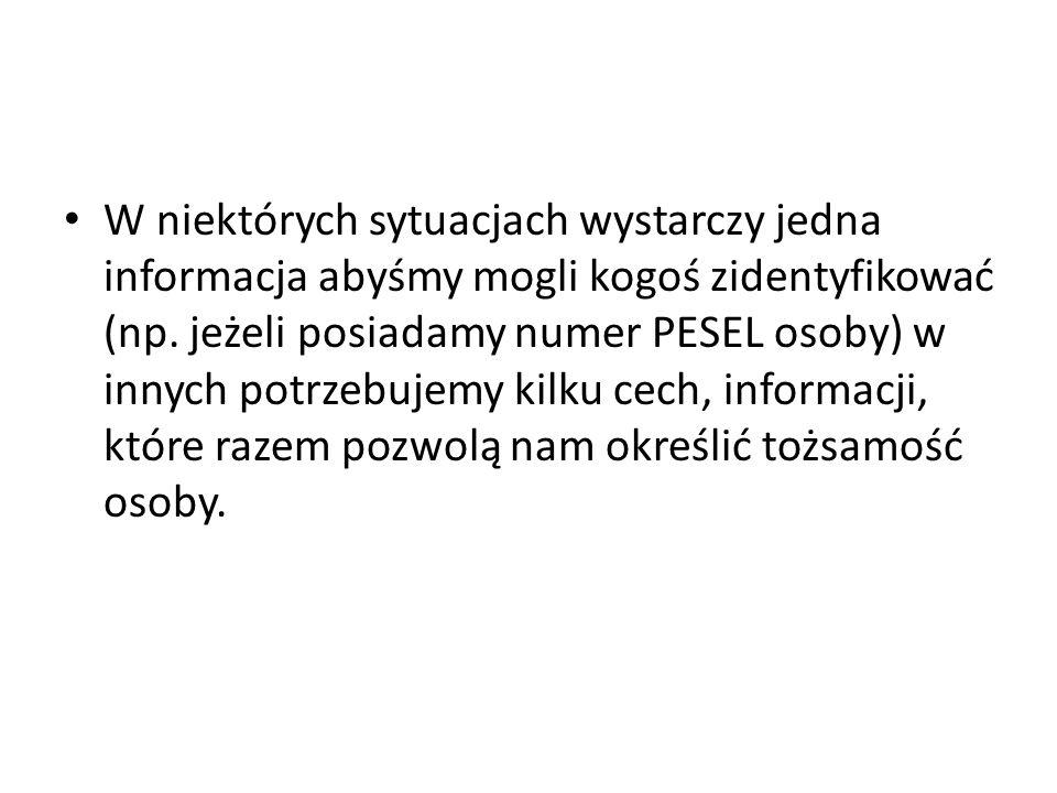 W niektórych sytuacjach wystarczy jedna informacja abyśmy mogli kogoś zidentyfikować (np.