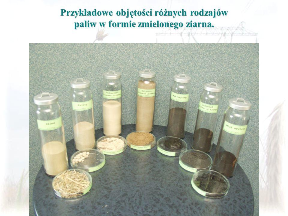 Przykładowe objętości różnych rodzajów paliw w formie zmielonego ziarna.