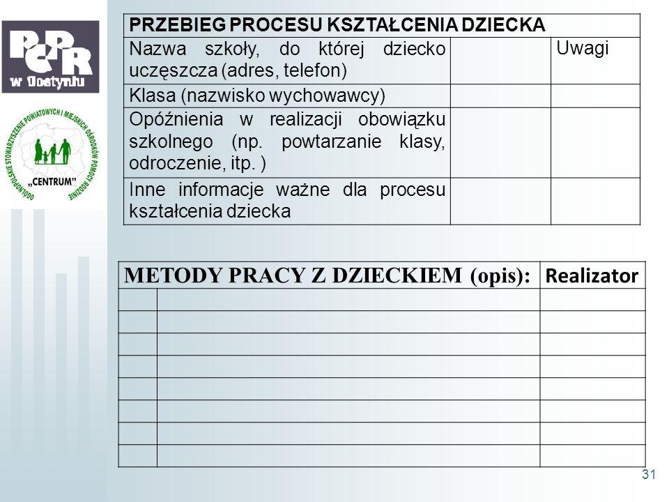 METODY PRACY Z DZIECKIEM (opis): Realizator