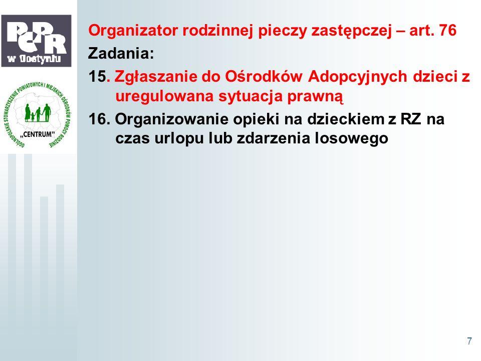 Organizator rodzinnej pieczy zastępczej – art. 76