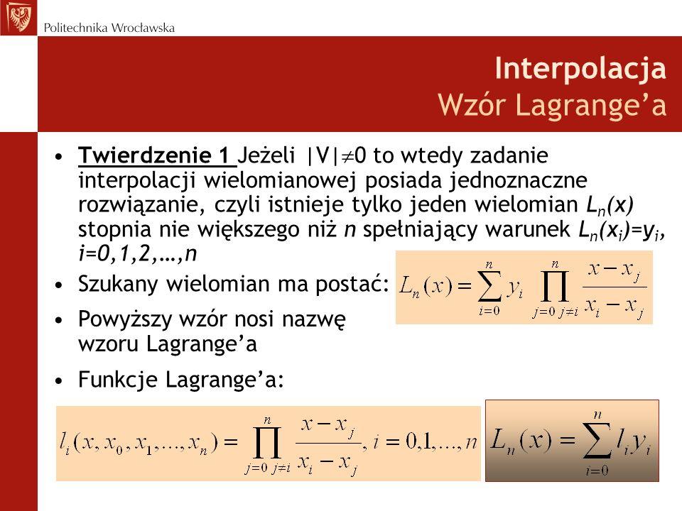 Interpolacja Wzór Lagrange'a