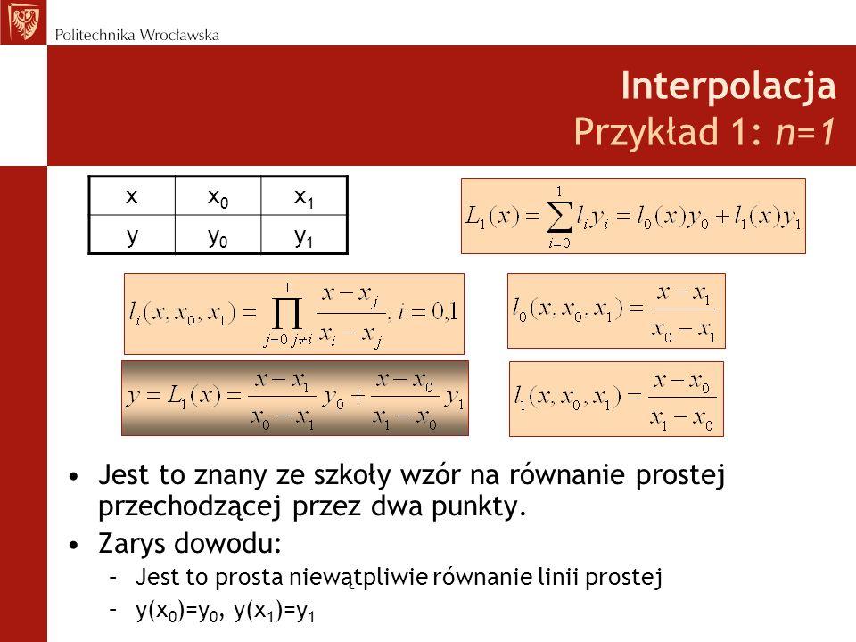 Interpolacja Przykład 1: n=1