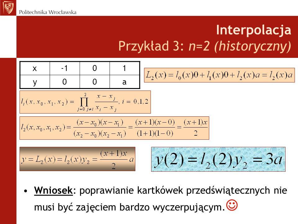 Interpolacja Przykład 3: n=2 (historyczny)