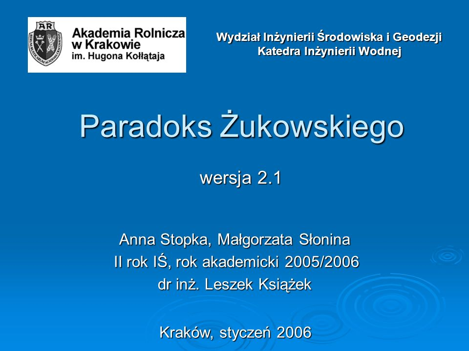Paradoks Żukowskiego wersja 2.1