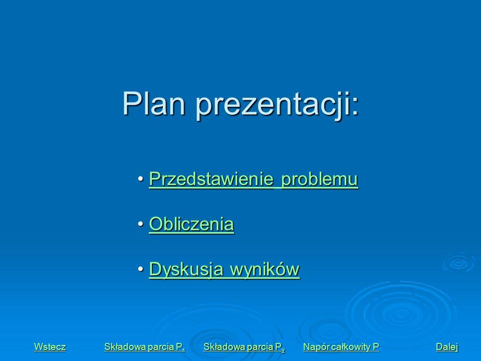 Plan prezentacji: Przedstawienie problemu Obliczenia Dyskusja wyników