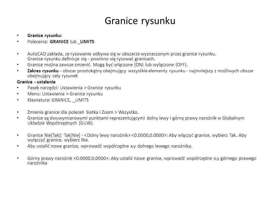 Granice rysunku Granice rysunku: Polecenia: GRANICE lub _LIMITS