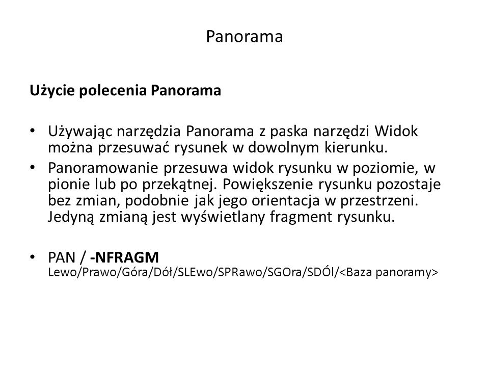 Panorama Użycie polecenia Panorama