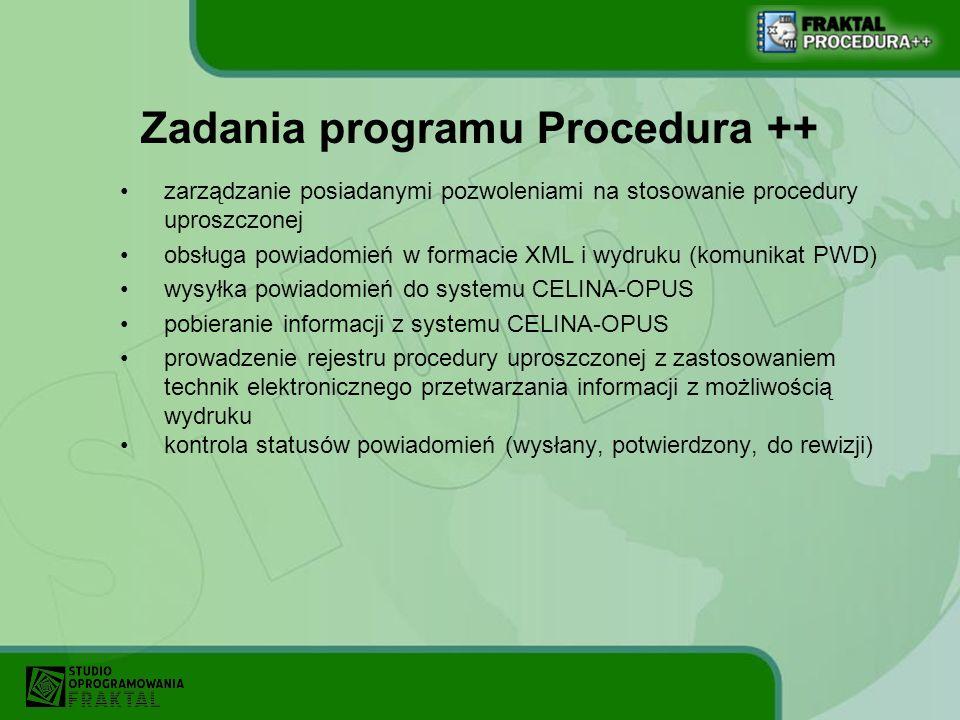 Zadania programu Procedura ++