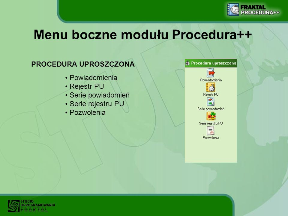 Menu boczne modułu Procedura++