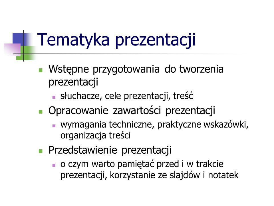 Tematyka prezentacji Wstępne przygotowania do tworzenia prezentacji