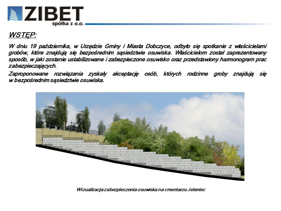 Wizualizacja zabezpieczenia osuwiska na cmentarzu Jeleniec