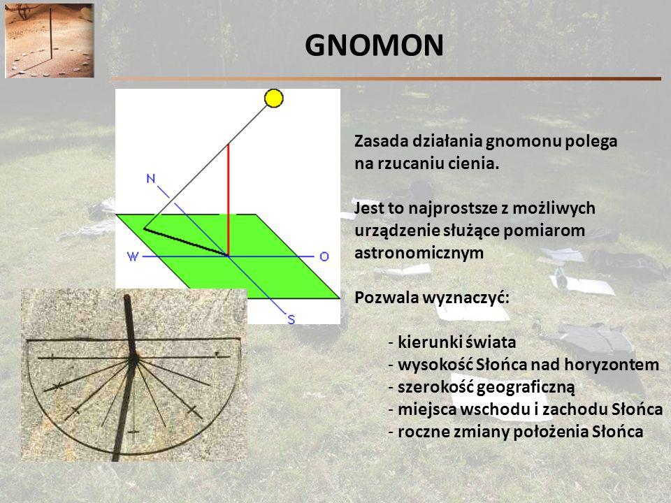 GNOMON Zasada działania gnomonu polega na rzucaniu cienia.