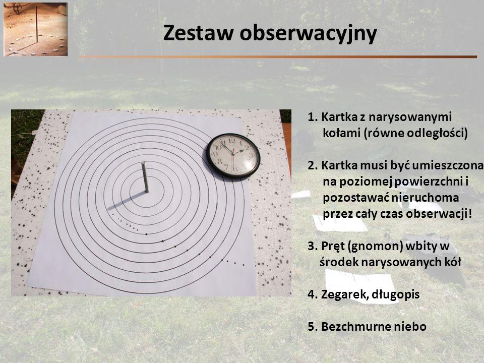 Zestaw obserwacyjny 1. Kartka z narysowanymi kołami (równe odległości)