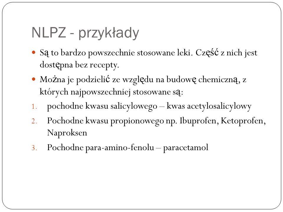 NLPZ - przykłady Są to bardzo powszechnie stosowane leki. Część z nich jest dostępna bez recepty.