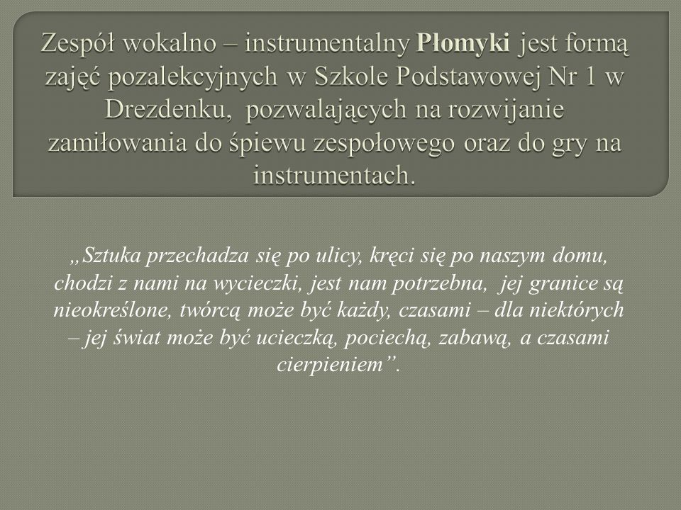 Zespół wokalno – instrumentalny Płomyki jest formą zajęć pozalekcyjnych w Szkole Podstawowej Nr 1 w Drezdenku, pozwalających na rozwijanie zamiłowania do śpiewu zespołowego oraz do gry na instrumentach.