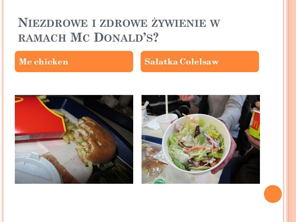 Niezdrowe i zdrowe żywienie w ramach Mc Donald's