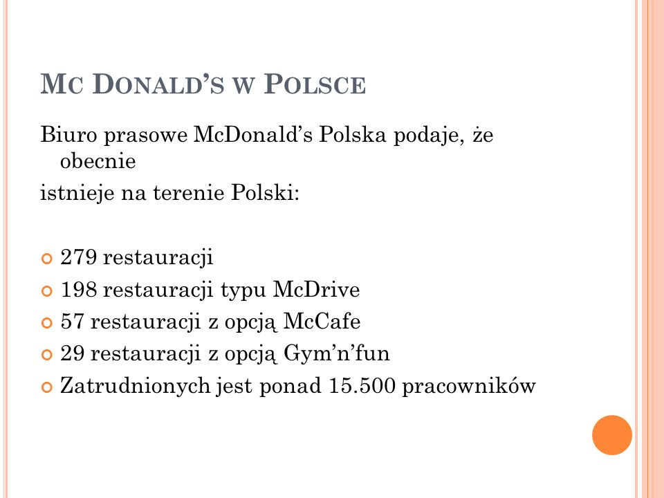 Mc Donald's w Polsce Biuro prasowe McDonald's Polska podaje, że obecnie. istnieje na terenie Polski: