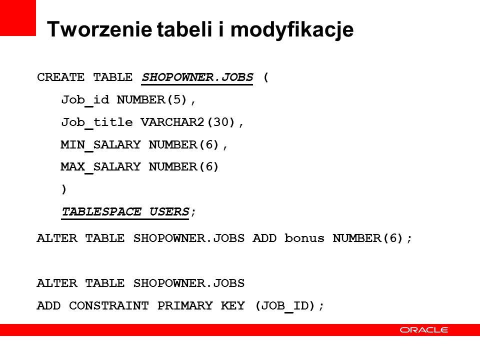 Tworzenie tabeli i modyfikacje