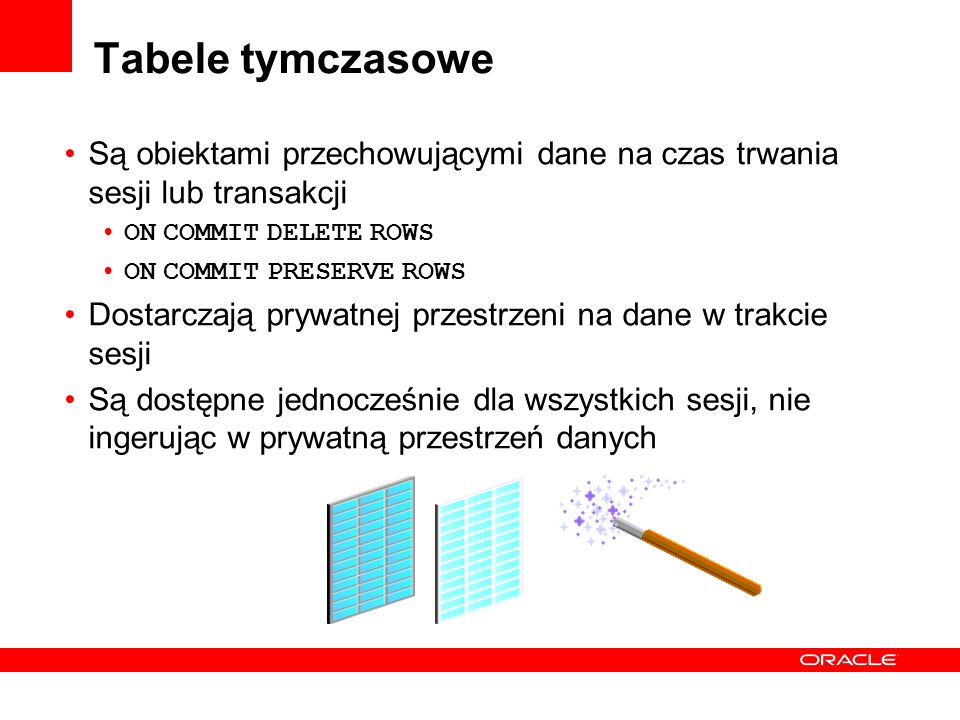 Tabele tymczasowe Są obiektami przechowującymi dane na czas trwania sesji lub transakcji. ON COMMIT DELETE ROWS.