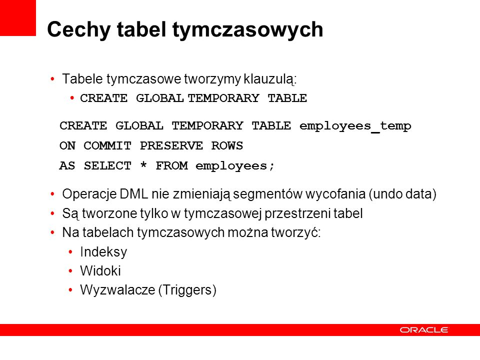 Cechy tabel tymczasowych