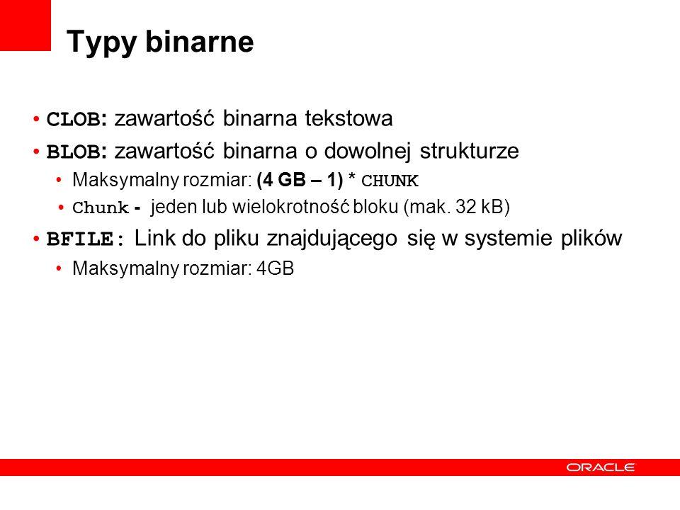 Typy binarne CLOB: zawartość binarna tekstowa