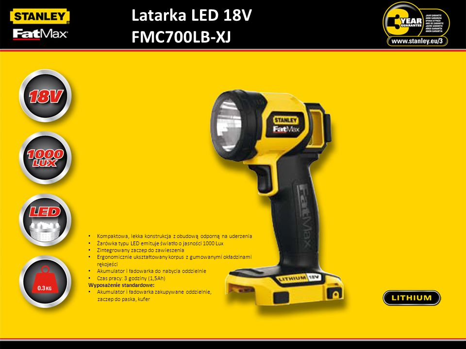 Latarka LED 18V FMC700LB-XJ. Kompaktowa, lekka konstrukcja z obudową odporną na uderzenia. Żarówka typu LED emituje światło o jasności 1000 Lux.