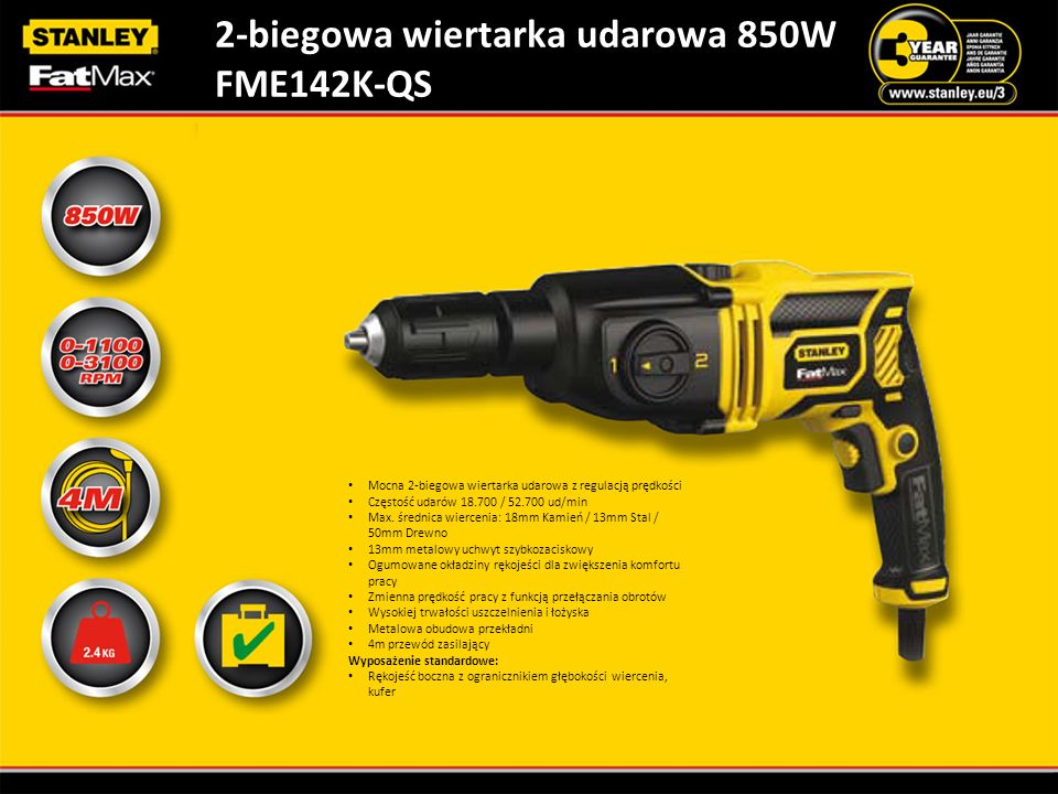 2-biegowa wiertarka udarowa 850W FME142K-QS