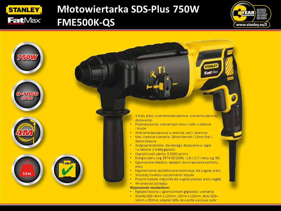 Młotowiertarka SDS-Plus 750W FME500K-QS