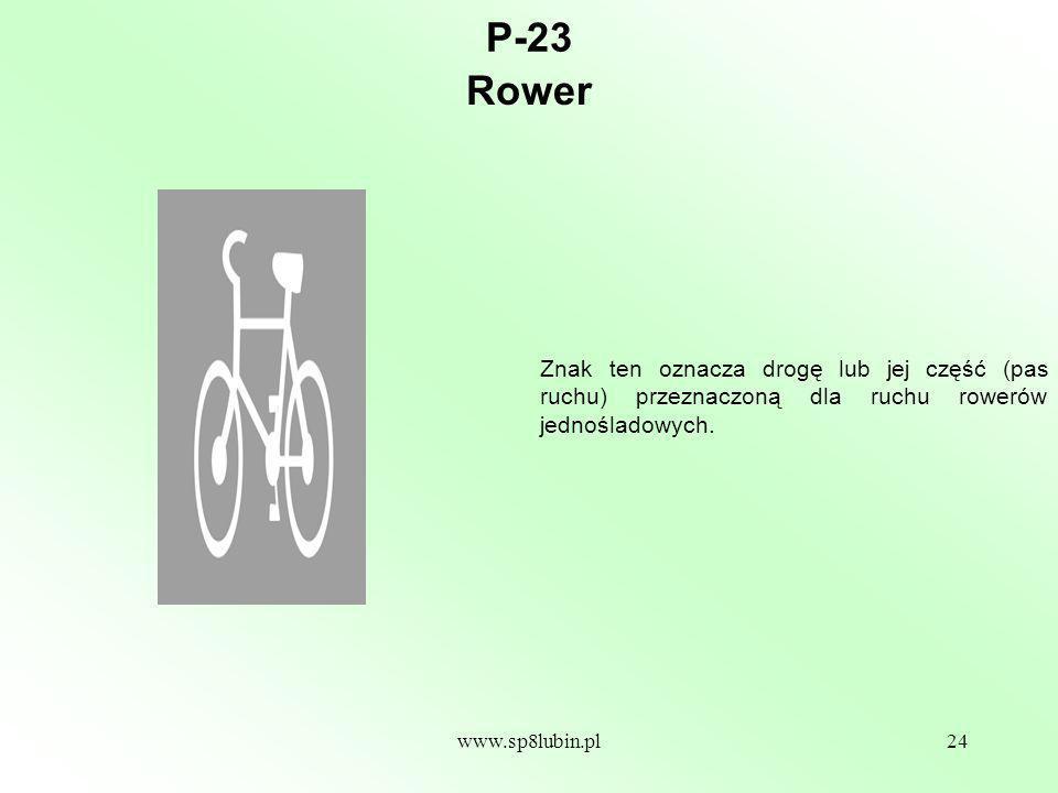 P-23 Rower. Znak ten oznacza drogę lub jej część (pas ruchu) przeznaczoną dla ruchu rowerów jednośladowych.