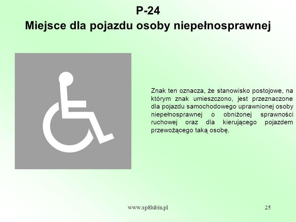 Miejsce dla pojazdu osoby niepełnosprawnej