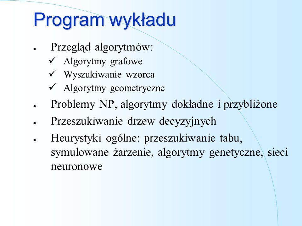 Program wykładu Przegląd algorytmów: